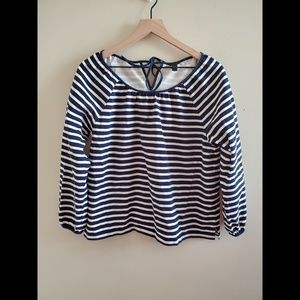 J. Crew Navy Striped Nautical Top Size Large